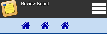 "Hmm. I'm not sure about this. How about we just fold everything into the drop-down menu (so we have a single thin bar at the top that has the logo, says ""Review Board"", and the menu)."