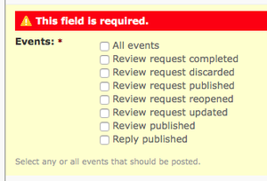 Events field is required